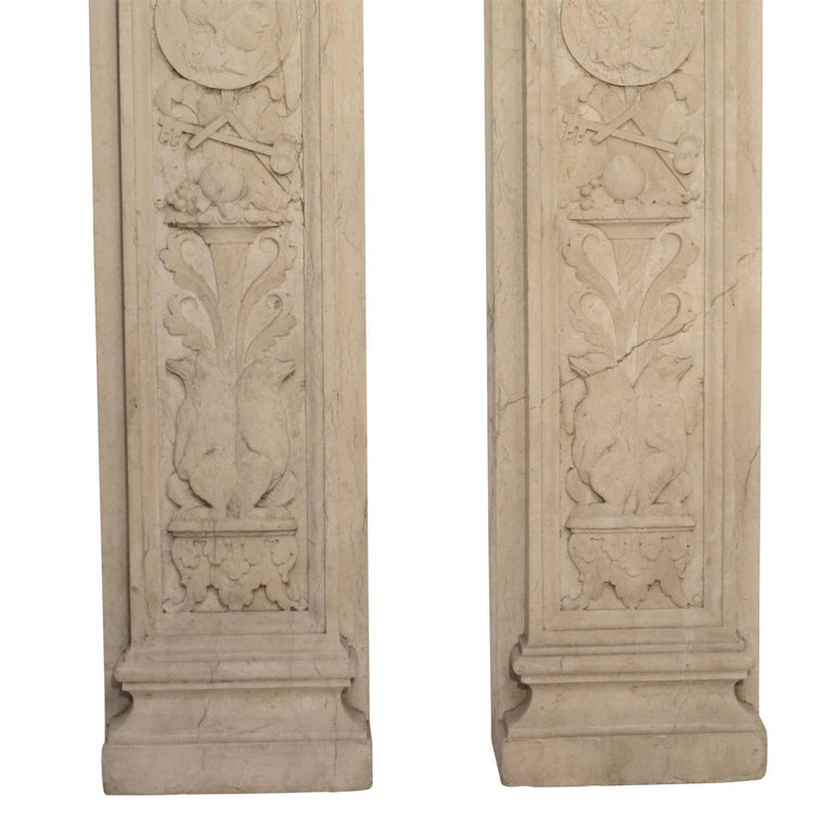 Italian Neoclassical Style Carved Marble Pilasters Architectural Elements, Pair For Sale 11
