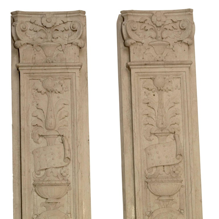 Italian Neoclassical Style Carved Marble Pilasters Architectural Elements, Pair For Sale 12