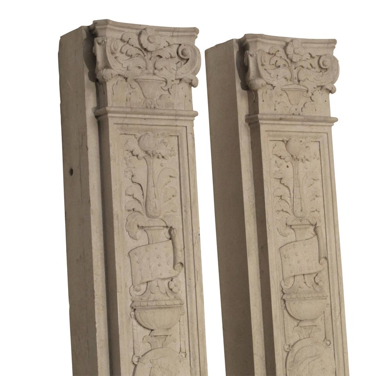 Italian Neoclassical Style Carved Marble Pilasters Architectural Elements, Pair In Good Condition For Sale In San Francisco, CA