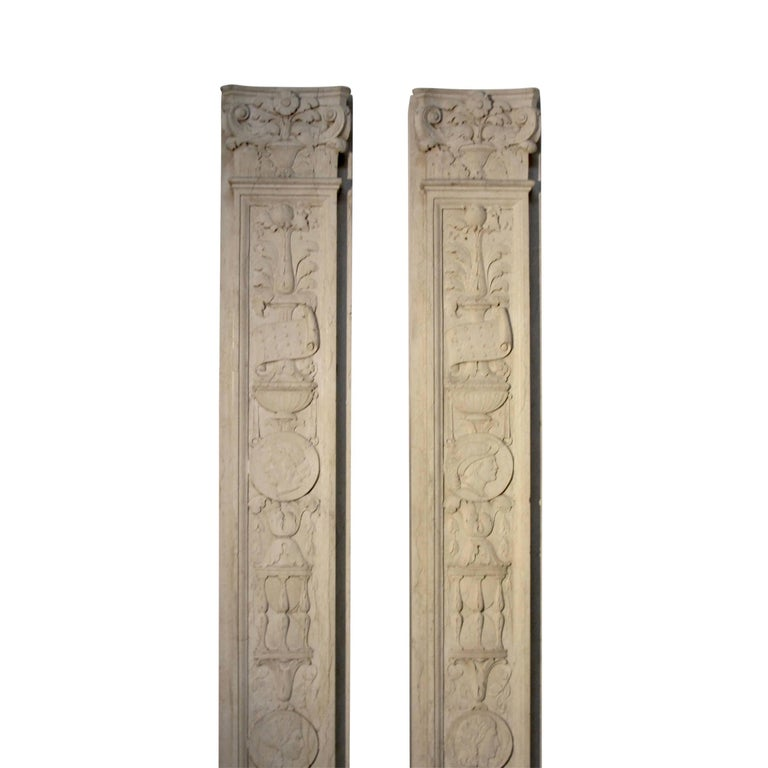 20th Century Italian Neoclassical Style Carved Marble Pilasters Architectural Elements, Pair For Sale