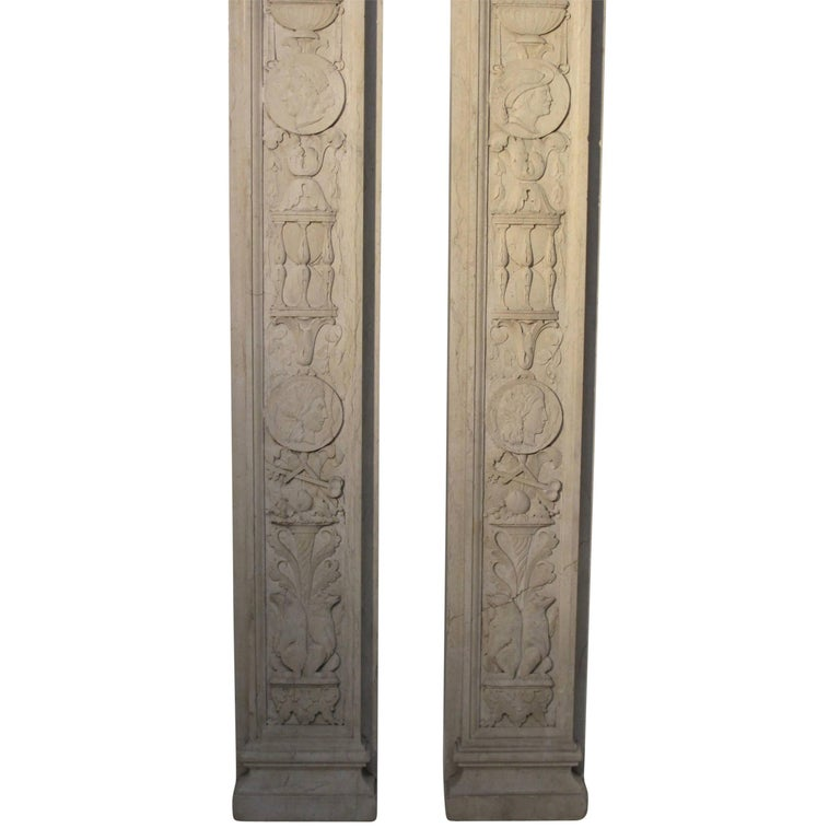 Italian Neoclassical Style Carved Marble Pilasters Architectural Elements, Pair For Sale 1