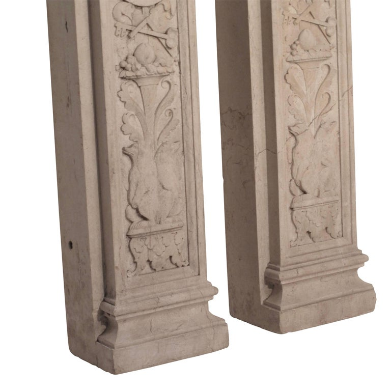 Italian Neoclassical Style Carved Marble Pilasters Architectural Elements, Pair For Sale 2