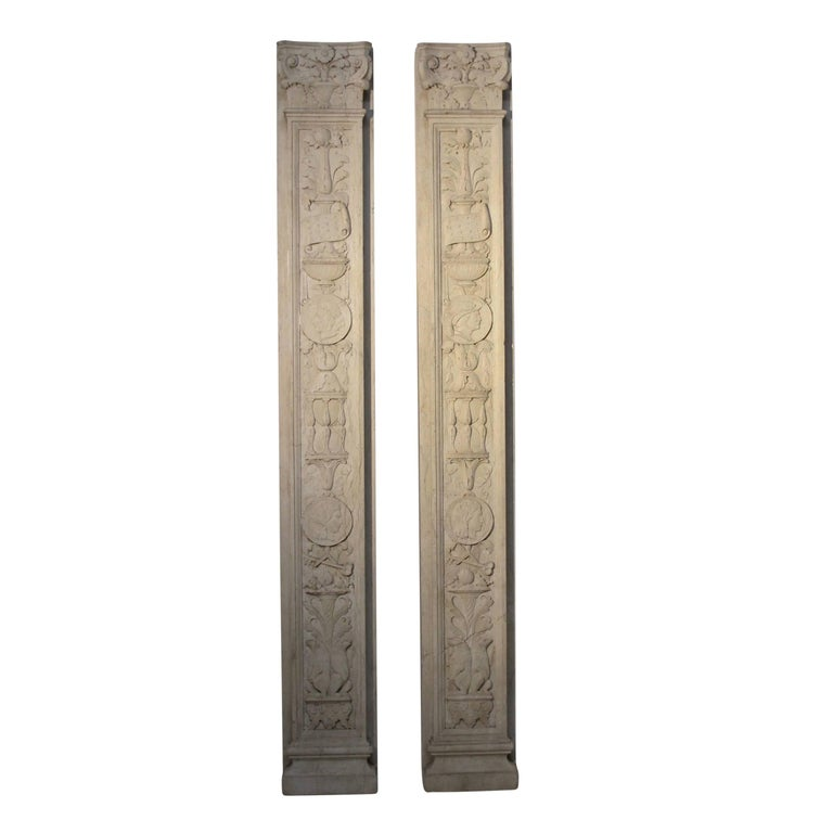 Italian Neoclassical Style Carved Marble Pilasters Architectural Elements, Pair For Sale 3
