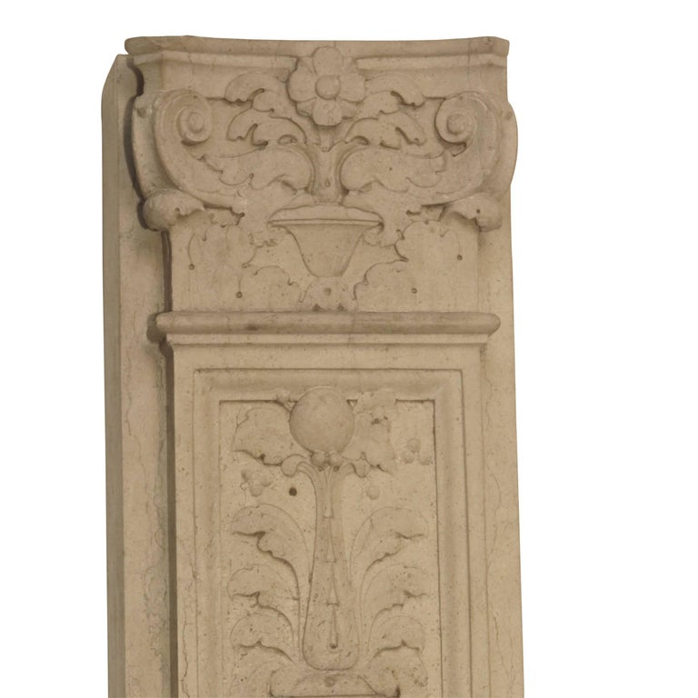 Italian Neoclassical Style Carved Marble Pilasters Architectural Elements, Pair For Sale 4