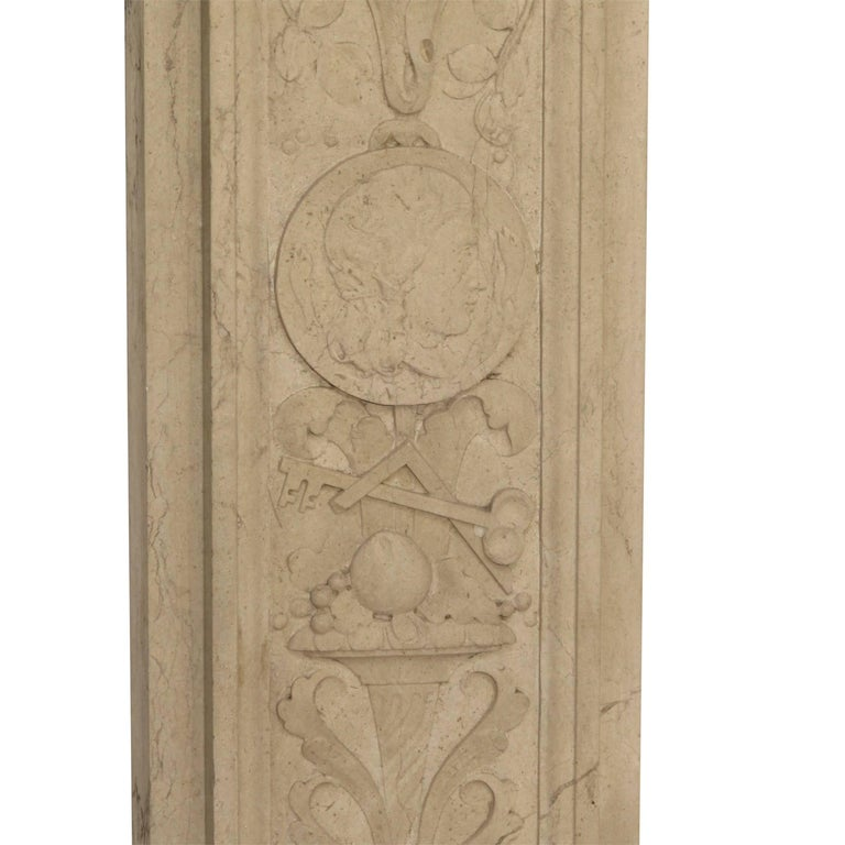 Italian Neoclassical Style Carved Marble Pilasters Architectural Elements, Pair For Sale 5