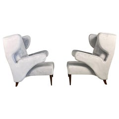 Pair of Italian of Large Attributed Melchiorre Bega Armchairs, 1950