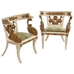 "Pair of Italian Painted & Giltwood ""Imperial Roman Style"" Tub Chairs, circa 1920"