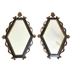Pair Italian Palladio Gilt Wood Painted Wall Mirror