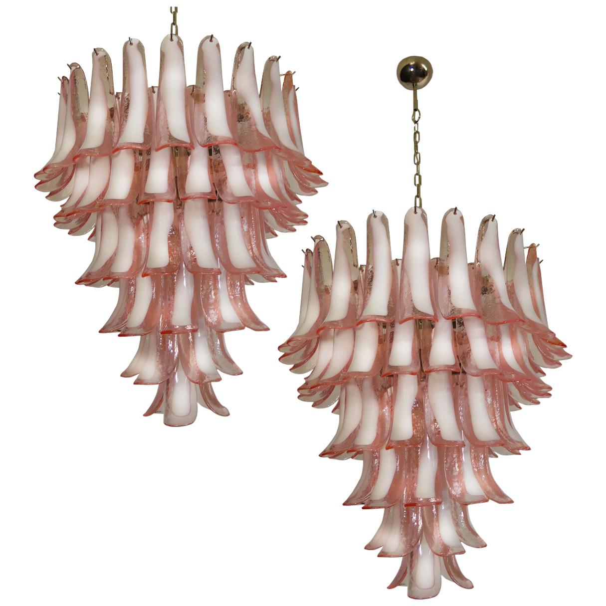 Pair of Italian Petal Chandeliers, Murano