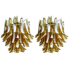 Pair of Italian Petal Murano Chandeliers, Mazzega Style