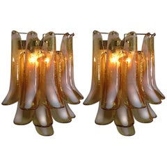 Pair of Italian Petal Murano sconces, Mazzega Style