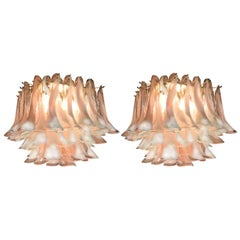 Pair of Italian Petals Chandeliers Ceiling Light, Murano