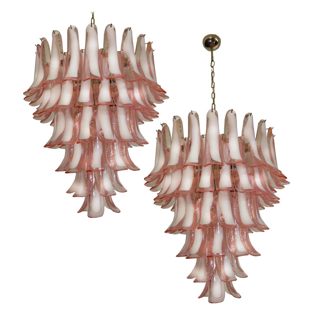 Pair of Italian Petals Murano Chandeliers
