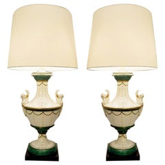 Pair of Italian Porcelain Table Lamps by Giulia Mangani of Neoclassical Urn Form