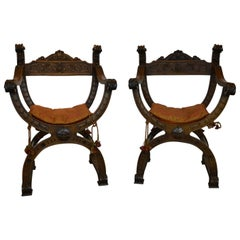 "Pair of Italian Renaissance, Classical Revival ""X"" Chairs"