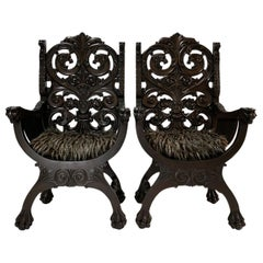 Pair of Italian Renaissance Revival Savoranola Armchairs of Carved Walnut