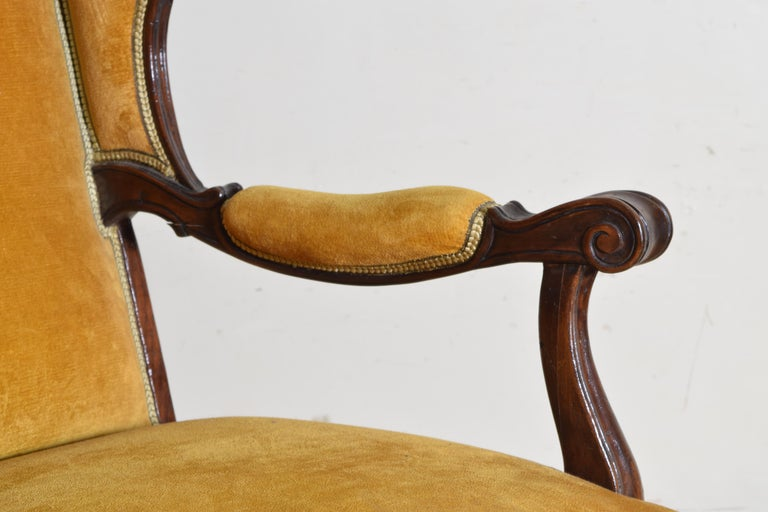 Pair of Italian Rococo Revival Style Walnut and Upholstered Wingchairs For Sale 6