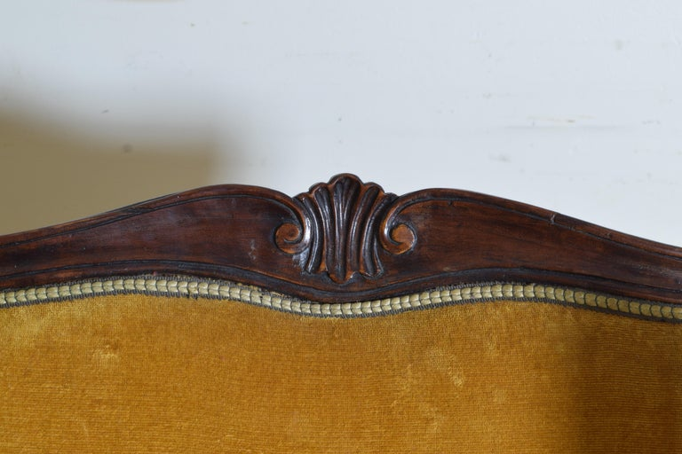 Pair of Italian Rococo Revival Style Walnut and Upholstered Wingchairs For Sale 8