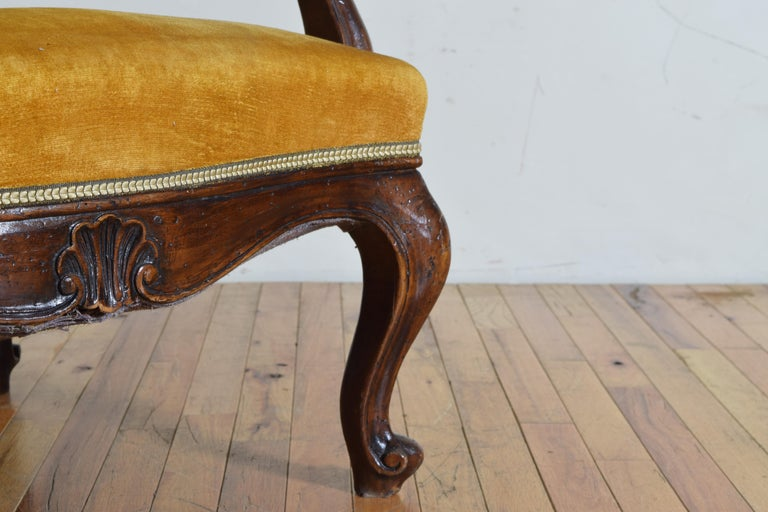 Pair of Italian Rococo Revival Style Walnut and Upholstered Wingchairs For Sale 9