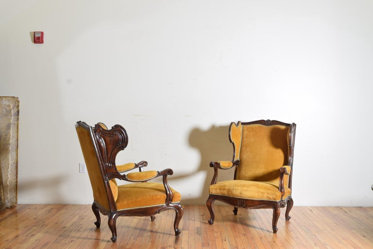Pair of Italian Rococo Revival Style Walnut and Upholstered Wingchairs In Excellent Condition For Sale In Atlanta, GA