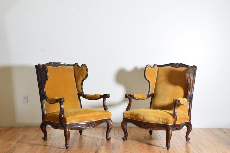 Mid-20th Century Pair of Italian Rococo Revival Style Walnut and Upholstered Wingchairs For Sale