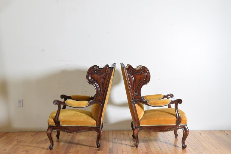 Pair of Italian Rococo Revival Style Walnut and Upholstered Wingchairs For Sale 2
