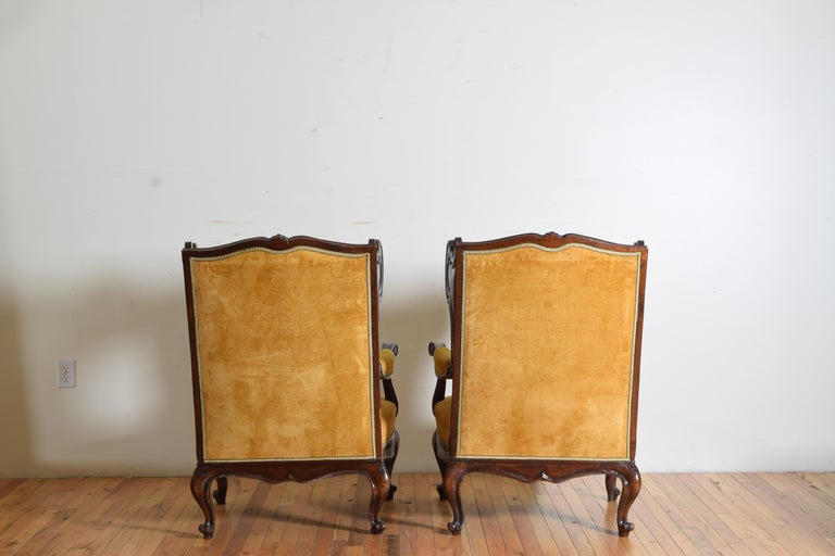 Pair of Italian Rococo Revival Style Walnut and Upholstered Wingchairs For Sale 3