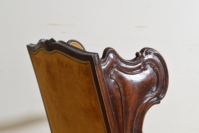 Pair of Italian Rococo Revival Style Walnut and Upholstered Wingchairs For Sale 4