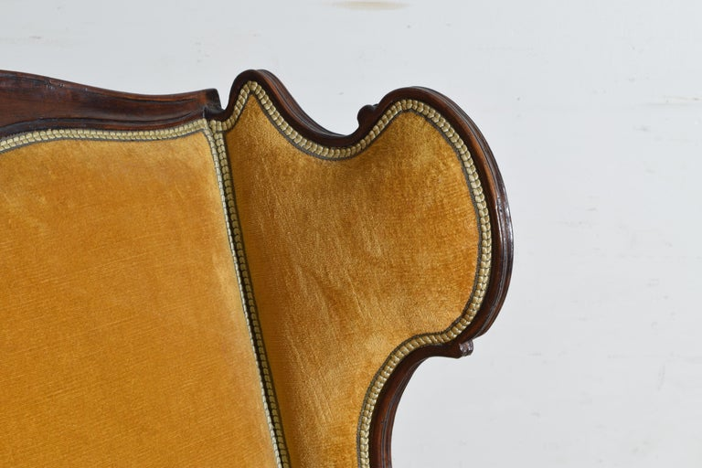 Pair of Italian Rococo Revival Style Walnut and Upholstered Wingchairs For Sale 5