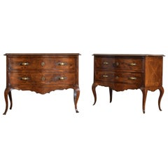Pair of Italian Rococo Walnut and Olivewood 2-Drawer Commodes, Mid-18th Century