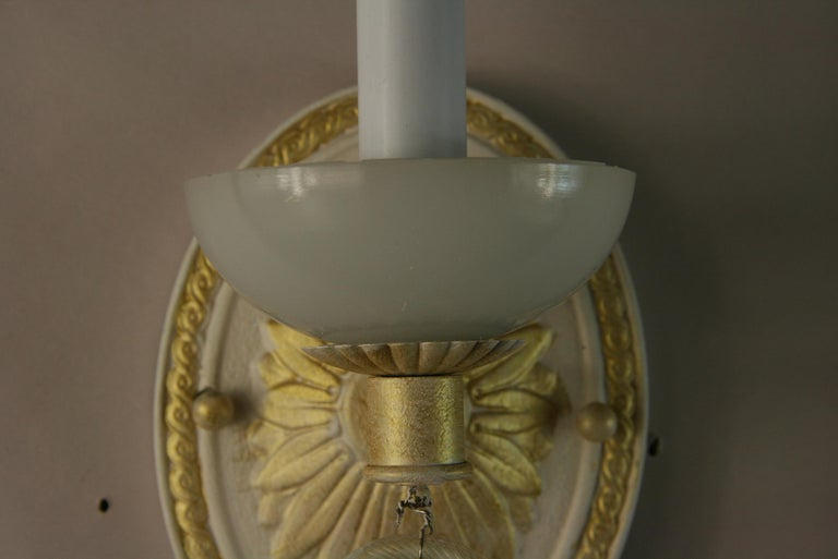 Mid-20th Century Pair of Italian Mid Century Sconces with Murano Glass, circa 1960s For Sale
