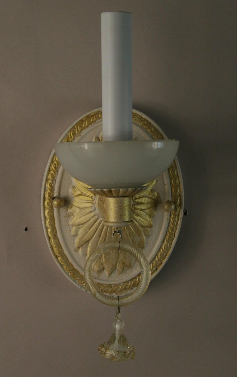 Pair of Italian Mid Century Sconces with Murano Glass, circa 1960s For Sale 1