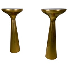 Pair of Italian Side Table in Brass and Top Glass Mid-Century Modern