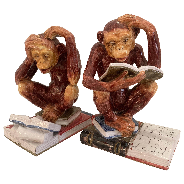 Pair Italian Terra Cotta Majolica Monkey Bookends