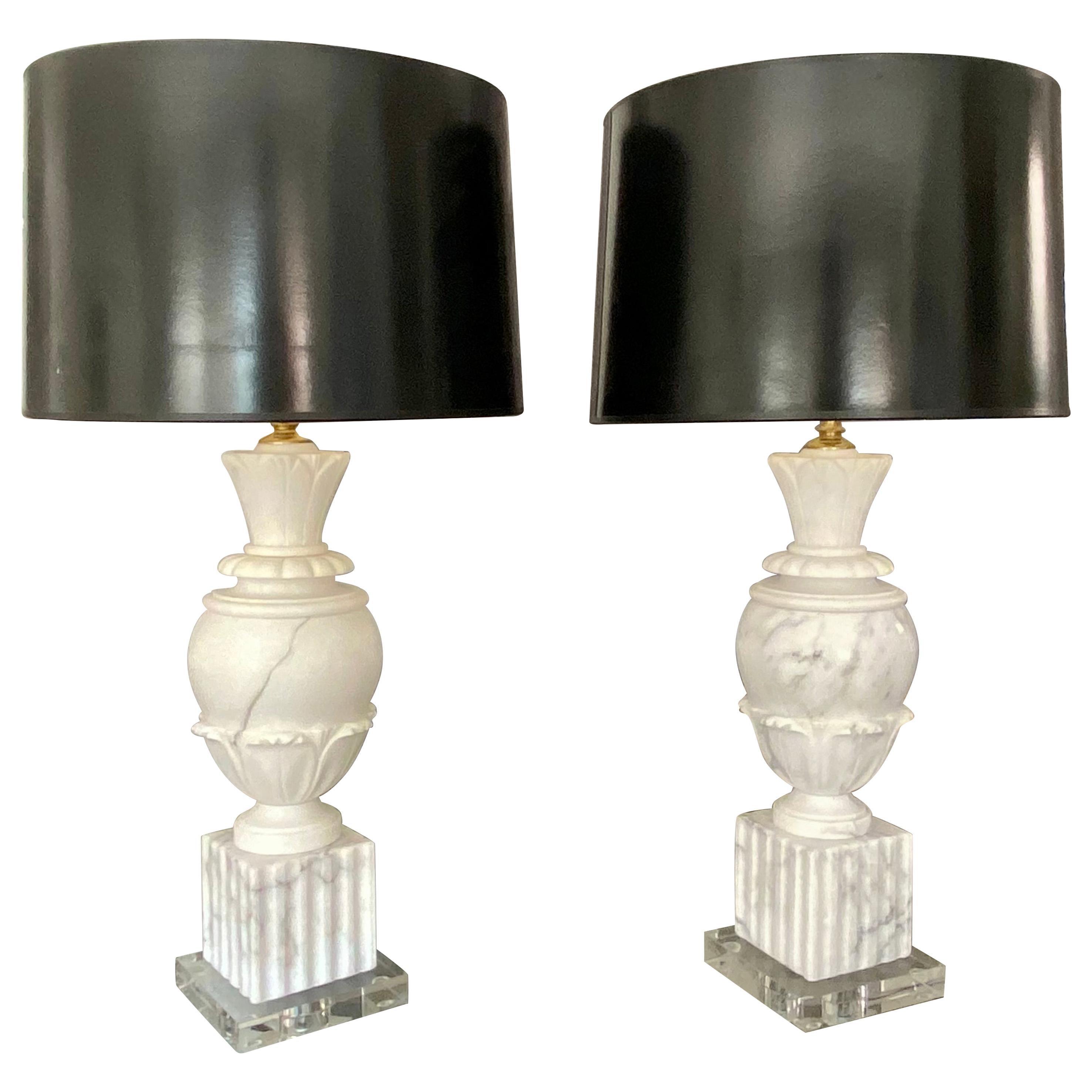 Pair of Italian Urn Neoclassic Alabaster Table Lamps