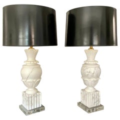 Pair of Italian Urn Neoclassic Alabaster Table Lamps