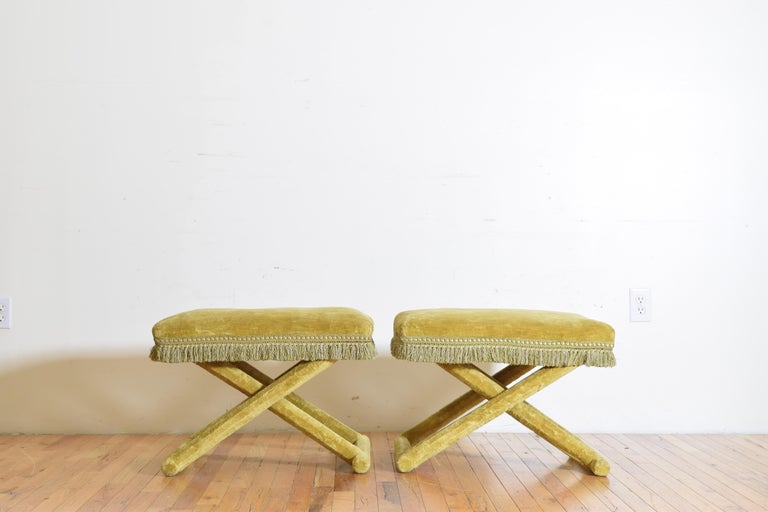 Pair of Italian Velvet Upholstered Curule Form Benches, 20th Century In Good Condition For Sale In Atlanta, GA
