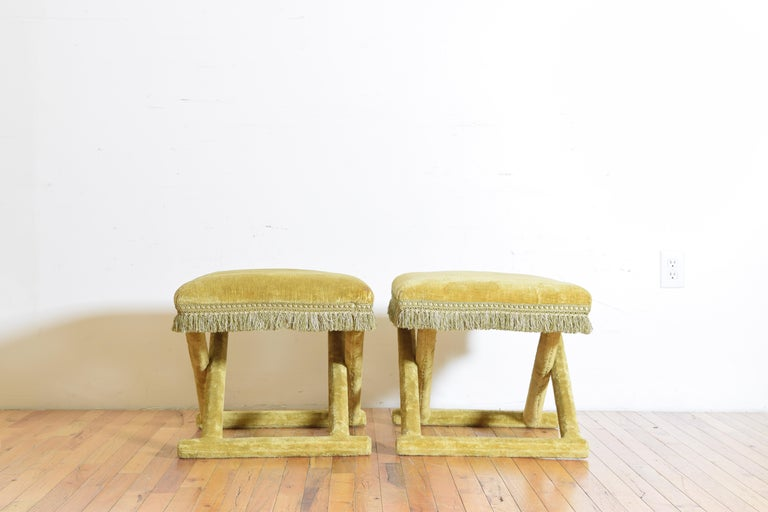 Mid-20th Century Pair of Italian Velvet Upholstered Curule Form Benches, 20th Century For Sale