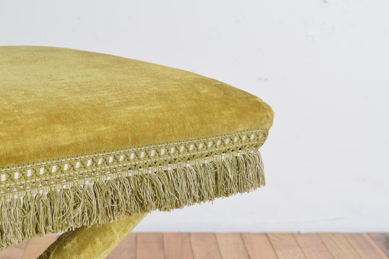 Pair of Italian Velvet Upholstered Curule Form Benches, 20th Century For Sale 1