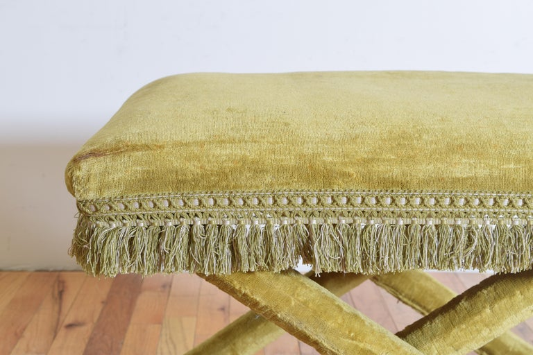 Pair of Italian Velvet Upholstered Curule Form Benches, 20th Century For Sale 3