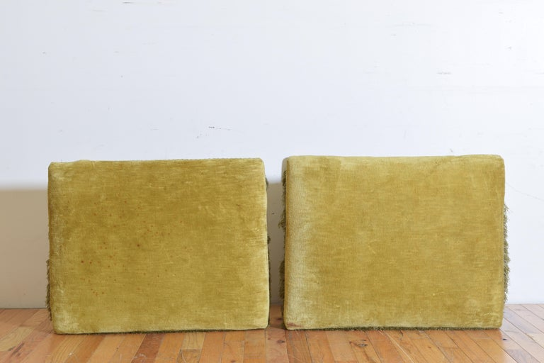 Pair of Italian Velvet Upholstered Curule Form Benches, 20th Century For Sale 4