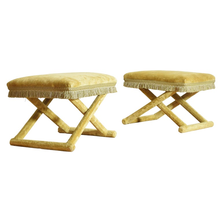 Pair of Italian Velvet Upholstered Curule Form Benches, 20th Century For Sale