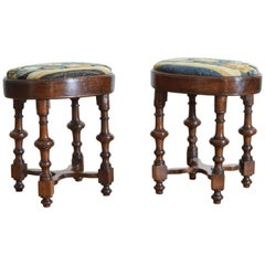 Pair of Italian Walnut and Tapestry Upholstered Footstools, Early 18th Century