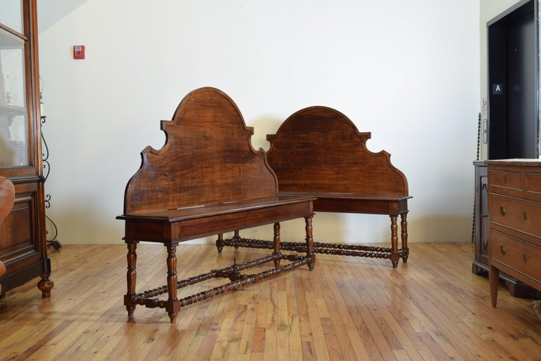 Baroque Revival Pair of Italian Walnut Louis XIII Style Hall Benches, 19th Century For Sale