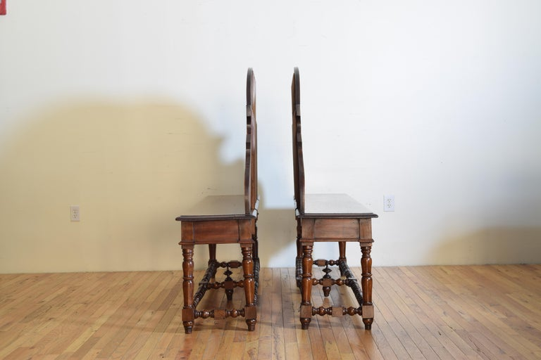 Mid-19th Century Pair of Italian Walnut Louis XIII Style Hall Benches, 19th Century For Sale