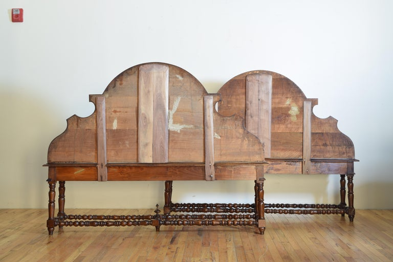 Pair of Italian Walnut Louis XIII Style Hall Benches, 19th Century For Sale 1