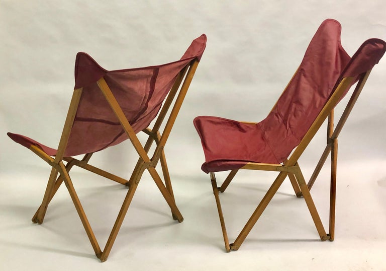 A rare set of the 'Tripolina' folding chair designed by Joseph B. Fenby.