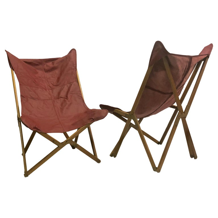 Pair of Italian Wood and Leather Folding 'Tripolina' Lounge Chairs, Joseph Fendy For Sale