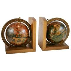 Pair Italian World Globe Bookends