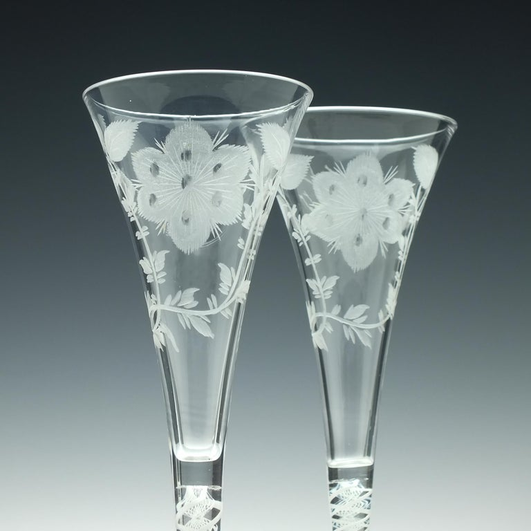 English Pair of Jacobite Carnation Opaque Twist Wine Glass, circa 1760 For Sale